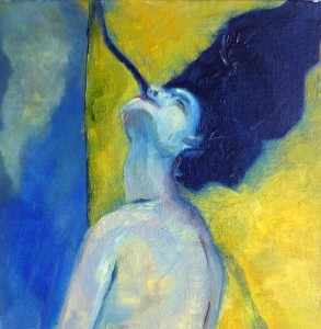 oil on canvas, 20cm x 20cm, part 3 of triptych.
