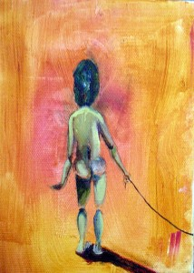 female nude impressionist style, burnt orange oil on canvas, 15cm x 20cm