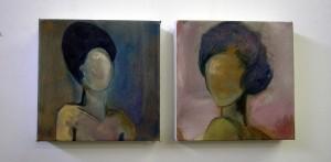 Portrait of 2 females, 1950's influence, pastel tones.