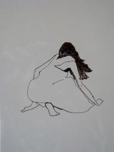 minimalist drawing pen on paper of girl searching