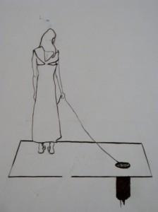 pen on paper minimalist drawing rabbit hole