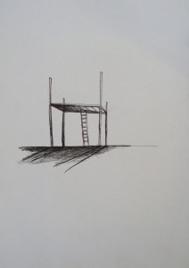 minimalist house in garrouse pen on paper