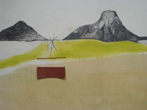 blackstaff mills belfast abstract interpretation of belfast drawing of belfast pen, graphite, linseed oil on wall paper