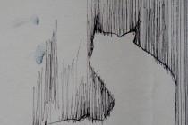 blackstaff mills pen on wall paper fox silhoutte in loom