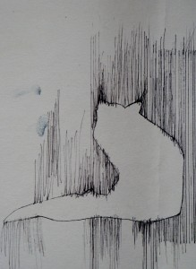 blackstaff mills pen on wall paper fox silhoutte in loom
