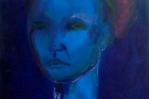 portrait female blue semi abstract.
