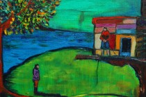 Treehouse 2, oil on canvas, 2015 boys painting dreamlike childhood countryside