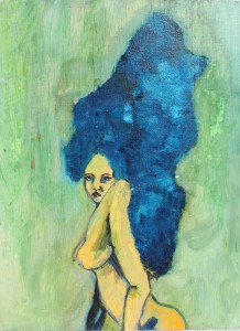 Female nude with blue hair.