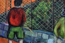 boys oil painting expressionist colour pissing