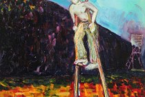 oil on board painting boy stilts expressionism treehouse