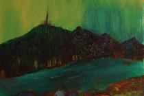 oil canvas landscape figure box arora aborialus expressionism