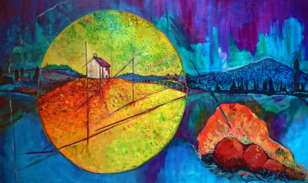 horse home grave story memory oil on canvas landscape nocturnal orb expressionist contrast