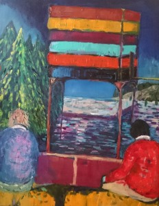 landscape dream expressionism figures colour tree house