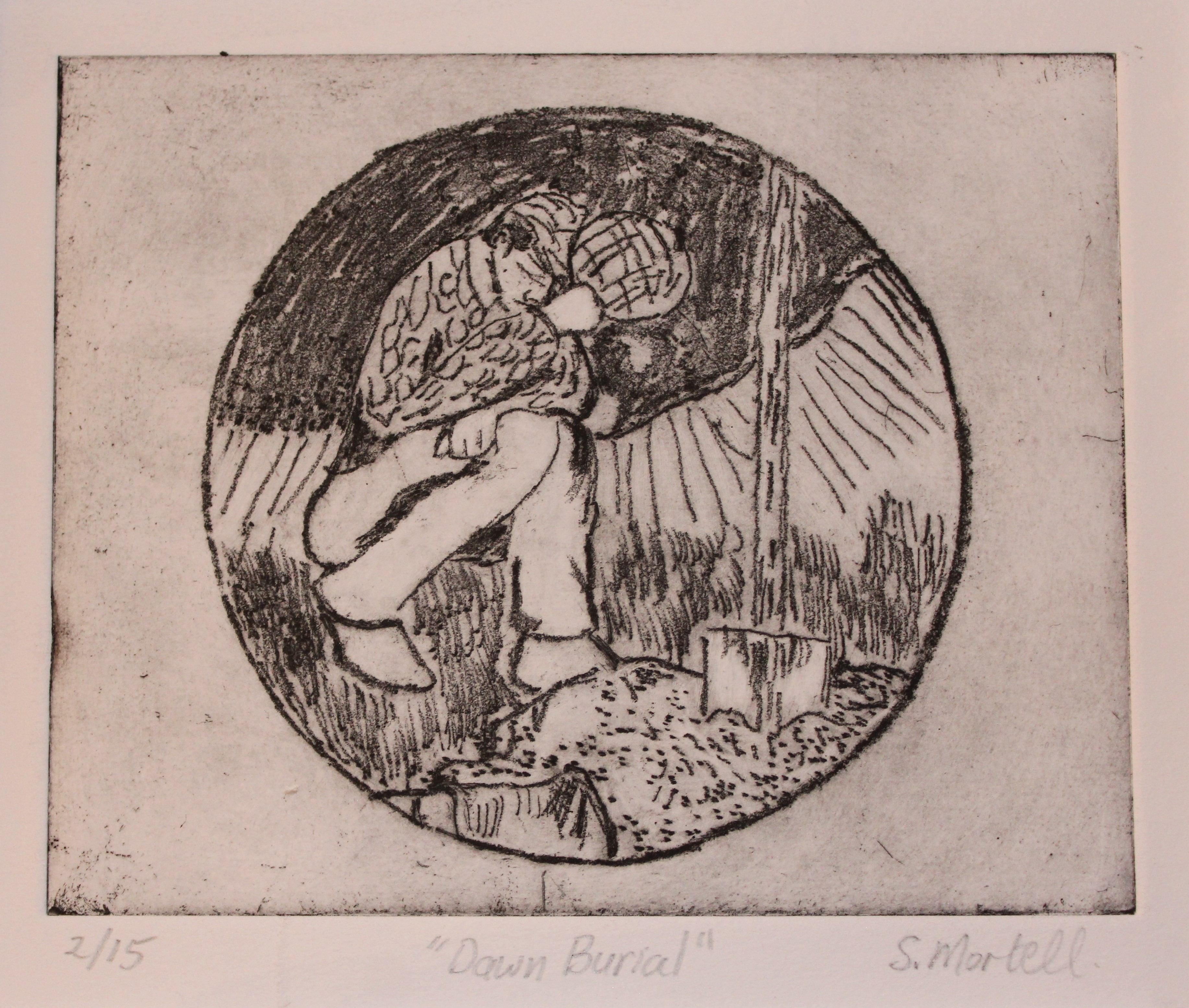 Etching series: horse grave farmer respect mourn friend companionship Mounted & framed approx.