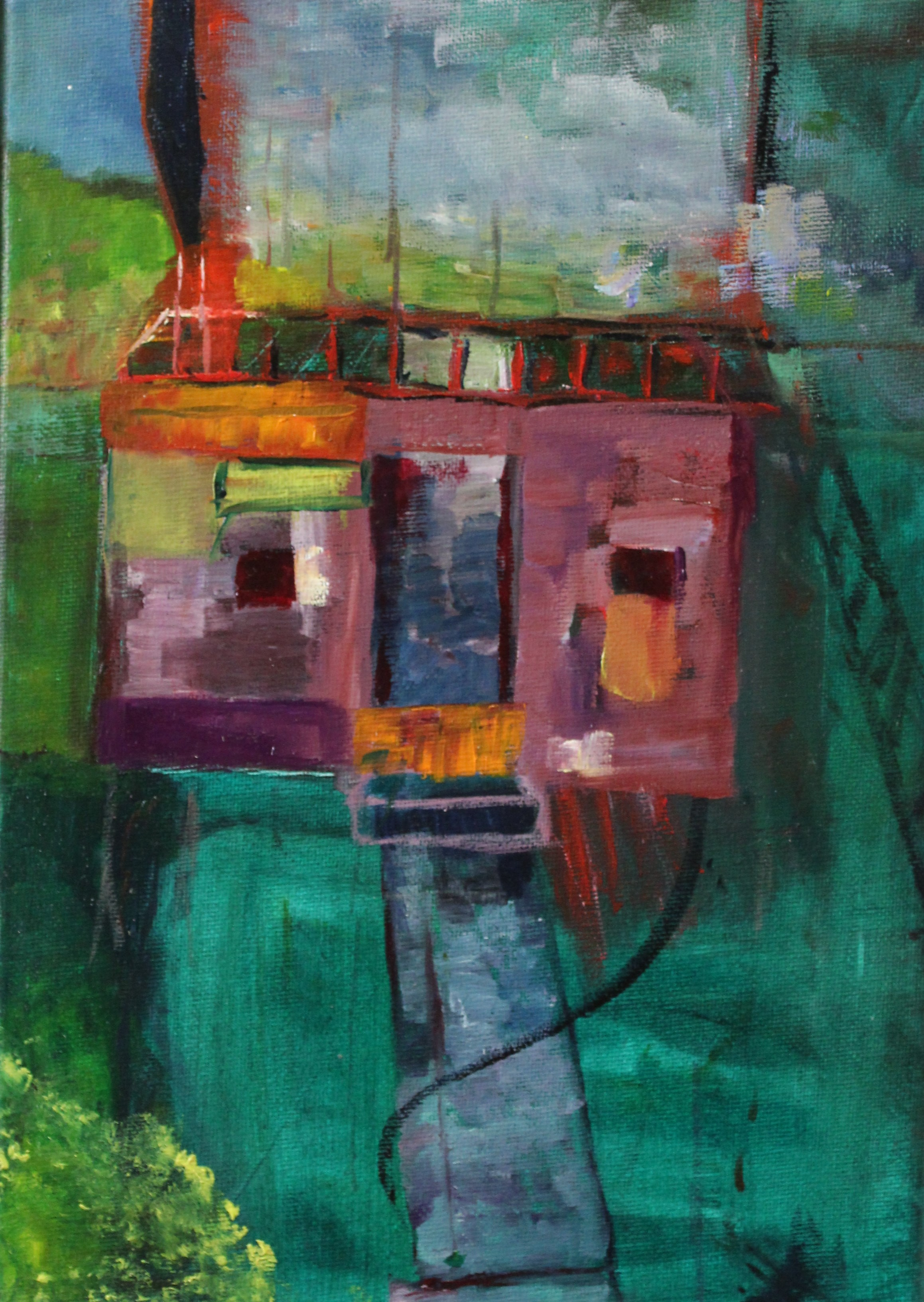 oil on linen, expressionist, colours, cubby house, treehouse, children, childhood, stories, painting,