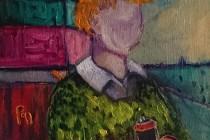 grafitti boy spray cans treehouse landscape jumper colour childhood expressionism brushsrokes faceless
