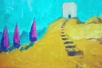 La muse inn, church cypresse tree, blue sky, oil on linen, painting, france cross, peter doig candy pink purple yellow cezanne vangogh stories journey hilltop landscape building