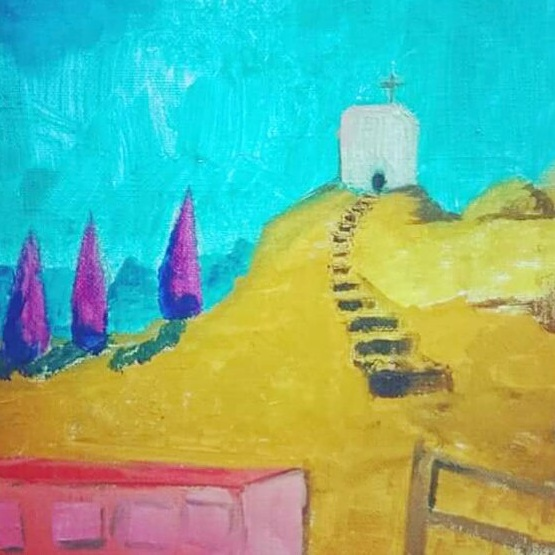 church cypresse tree, blue sky, oil on linen, painting, france cross, peter doig candy pink purple yellow cezanne vangogh stories journey hilltop landscape building