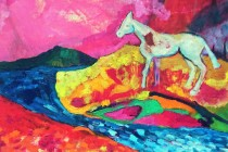 horse, landscape, colours, chagall, yeats, pink, water, landscape,dream, future