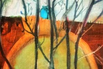 house, trees, hidden, oil on board, fence, landscape, orb, crosssection, farmstead.